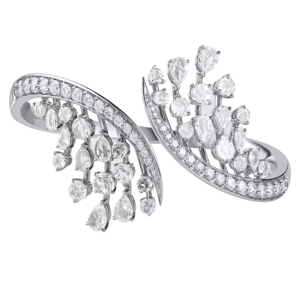 Cascade bangle bracelet set with round, pear and rose-cut diamonds and diamond pave